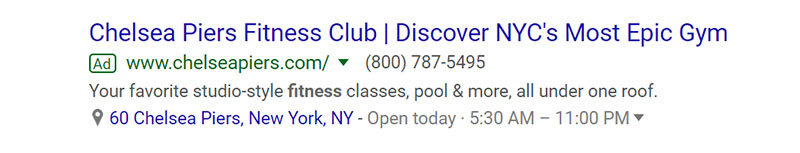 Chelsea Piers Fitness Google Ad Example - Chainlink Relationship Marketing