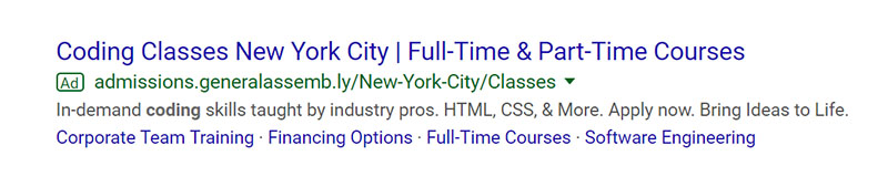 Coding Classes Google Ad Example - Chainlink Relationship Marketing