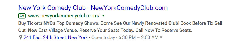 Comedy Club Google Ad Example - Chainlink Relationship Marketing