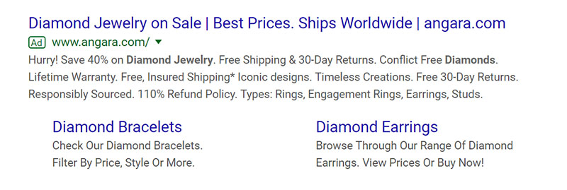 Diamond Jewelry Google Ad Example - Chainlink Relationship Marketing