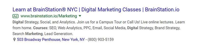 Digital Marketing Classes Education Google Ad Example - Chainlink Relationship Marketing