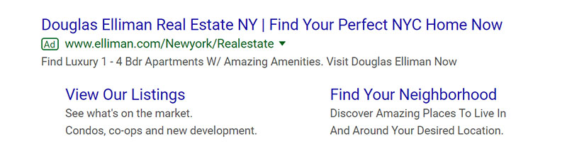 Douglas Elliman Real Estate Google Ad Example - Chainlink Relationship Marketing