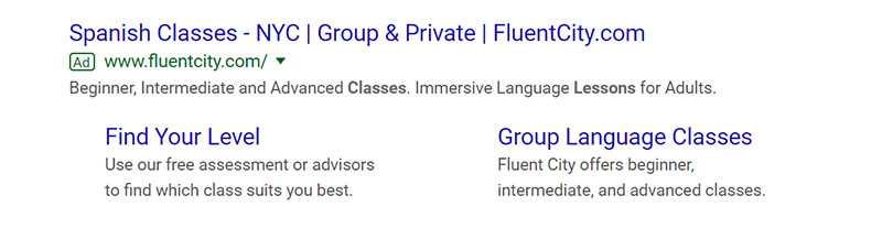 FluentCity Google Ad Example - Chainlink Relationship Marketing