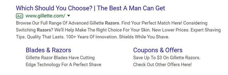 Gillette Men's Best Razors Beauty and Wellness Google Ad Example - Chainlink Relationship Marketing