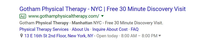 Gotham Physical Therapy Google Ad Example - Chainlink Relationship Marketing
