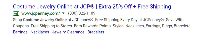 JCPenney Jewelry Google Ad Example - Chainlink Relationship Marketing
