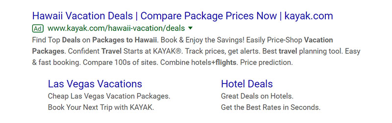 Kayak.com Travel and Hospitality Google Ad Example - Chainlink Relationship Marketing