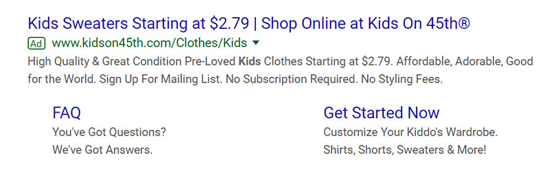 Kids' Clothes Google Ad Example - Chainlink Relationship Marketing