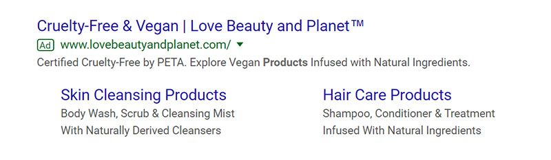 Love Beauty Planet Google Ad Example - Chainlink Relationship Marketing