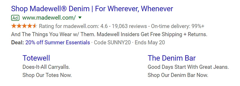 Madewell Apparel Google Ad Example - Chainlink Relationship Marketing