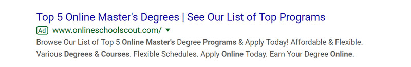 Masters Programs Google Ad Example - Chainlink Relationship Marketing
