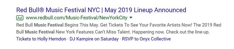 Music Festival Google Ad Example - Chainlink Relationship Marketing