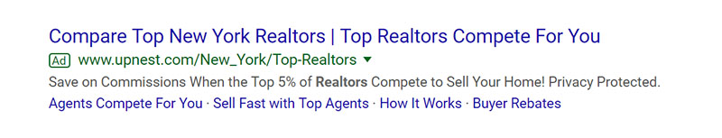 New York Realtors Google Ad Example - Chainlink Relationship Marketing