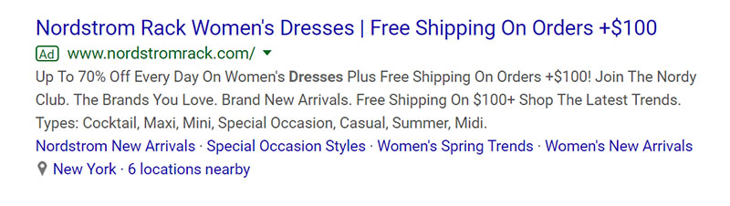Nordstrom Rack Google Ad Example - Chainlink Relationship Marketing