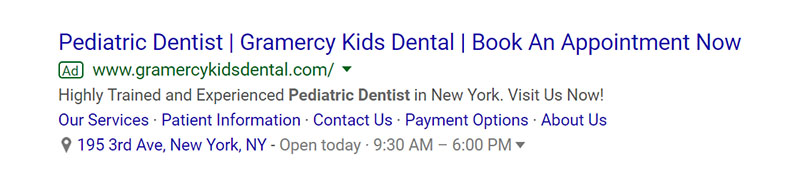 Pediatric Dentist Google Ad Example - Chainlink Relationship Marketing