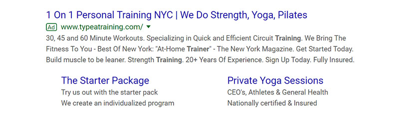 Personal Training Fitness Google Ad Example - Chainlink Relationship Marketing