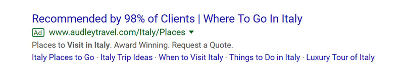 Places to Visit in Italy Google Ad Example - Chainlink Relationship Marketing