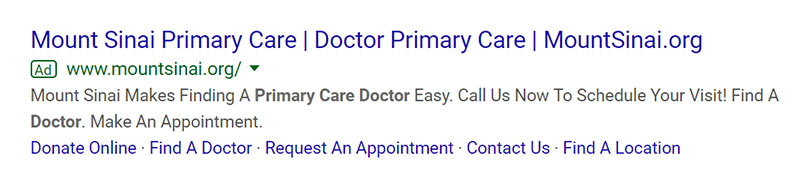 Primary Care Doctor Google Ad Example - Chainlink Relationship Marketing