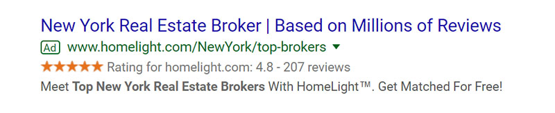 Real Estate Brokers Google Ad Example - Chainlink Relationship Marketing