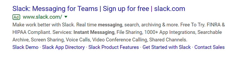 Slack Google Ad Example - Chainlink Relationship Marketing