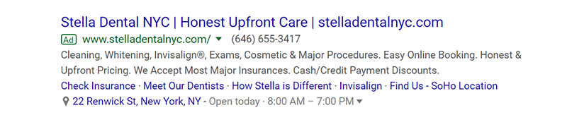 Stella Dental Google Ad Example - Chainlink Relationship Marketing
