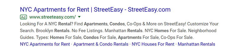 StreetEasy Google Ad Example - Chainlink Relationship Marketing