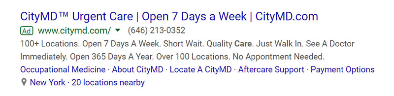 Urgent Care CityMD Medical Google Ad Example - Chainlink Relationship Marketing