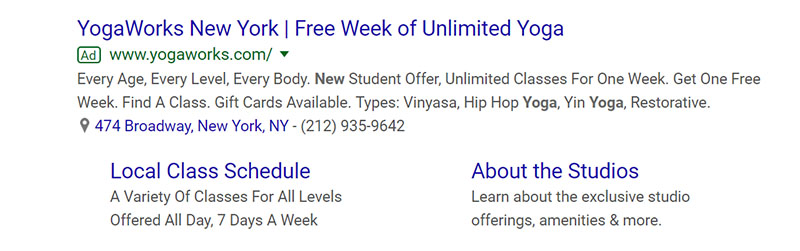 Yoga Classes Google Ad Example - Chainlink Relationship Marketing