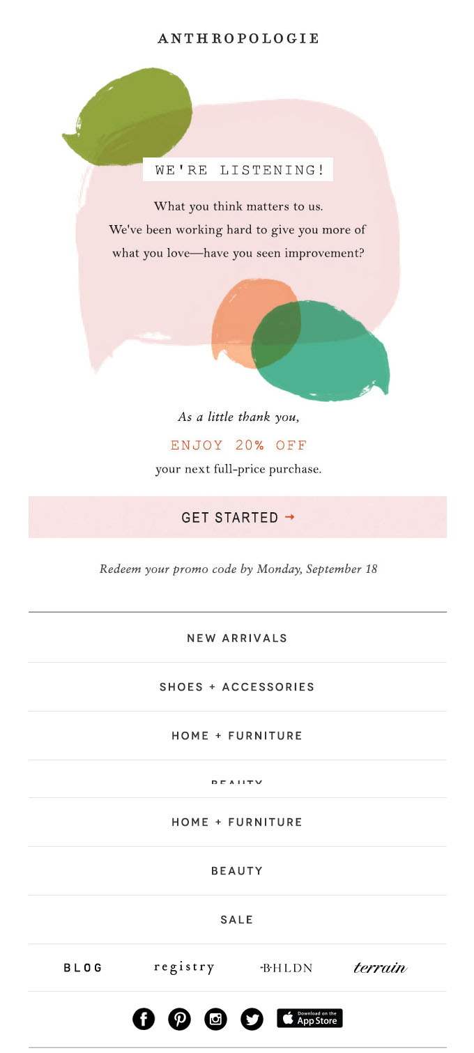 Behavioral Emails - Survey Email - Anthropologie