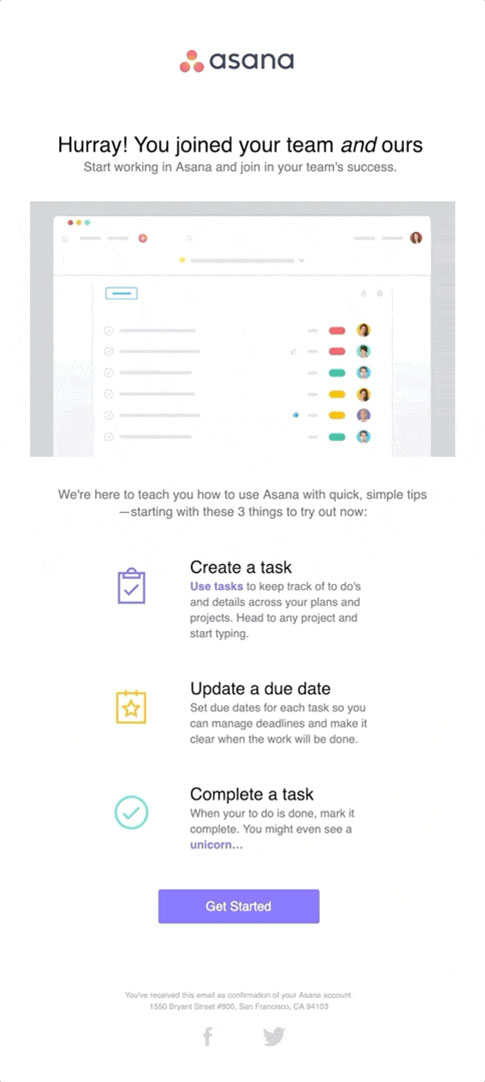 Onboarding Emails - Welcome Email - Asana