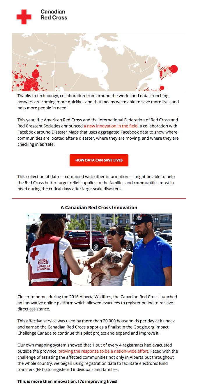 Behavioral Emails - Social Community Activism Email - The Canadian Red Cross