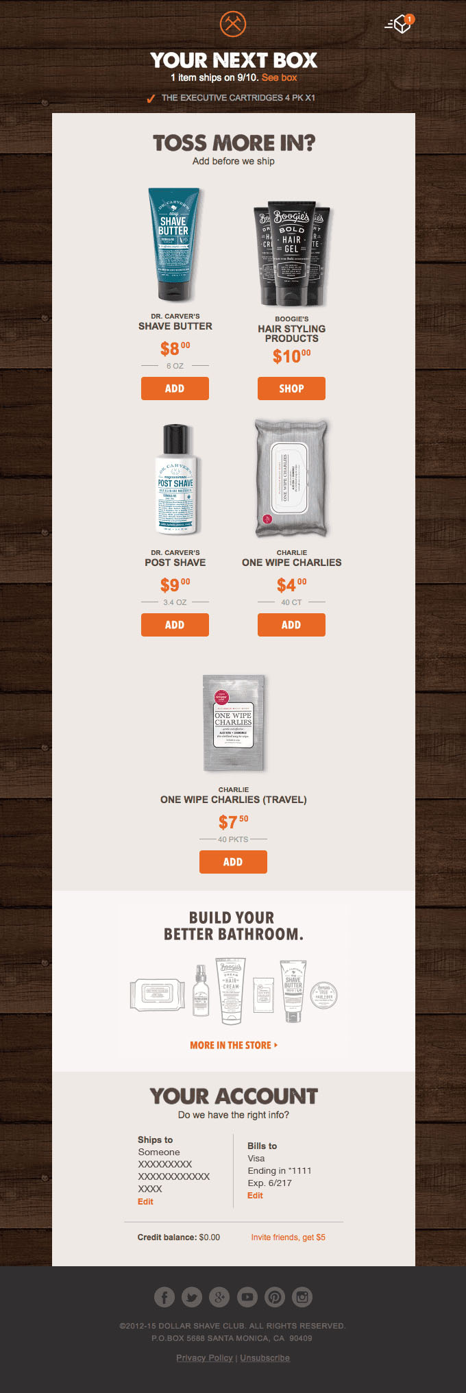 Onboarding Emails - Upsell Email - Dollar Shave Club