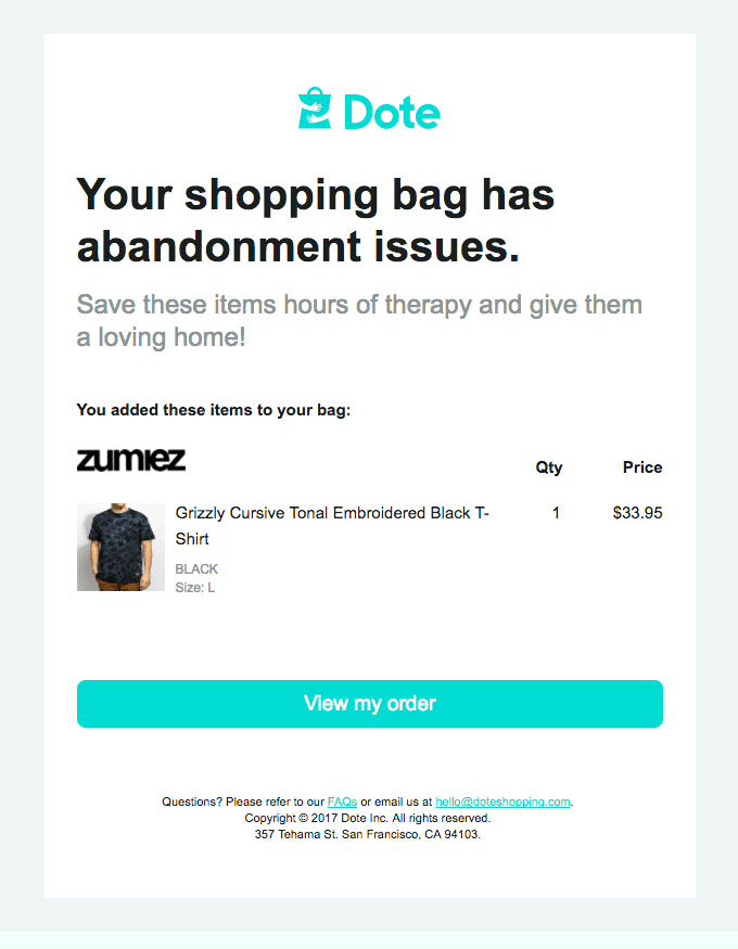 Behavioral Emails - Abandoned Cart Email -  Dote