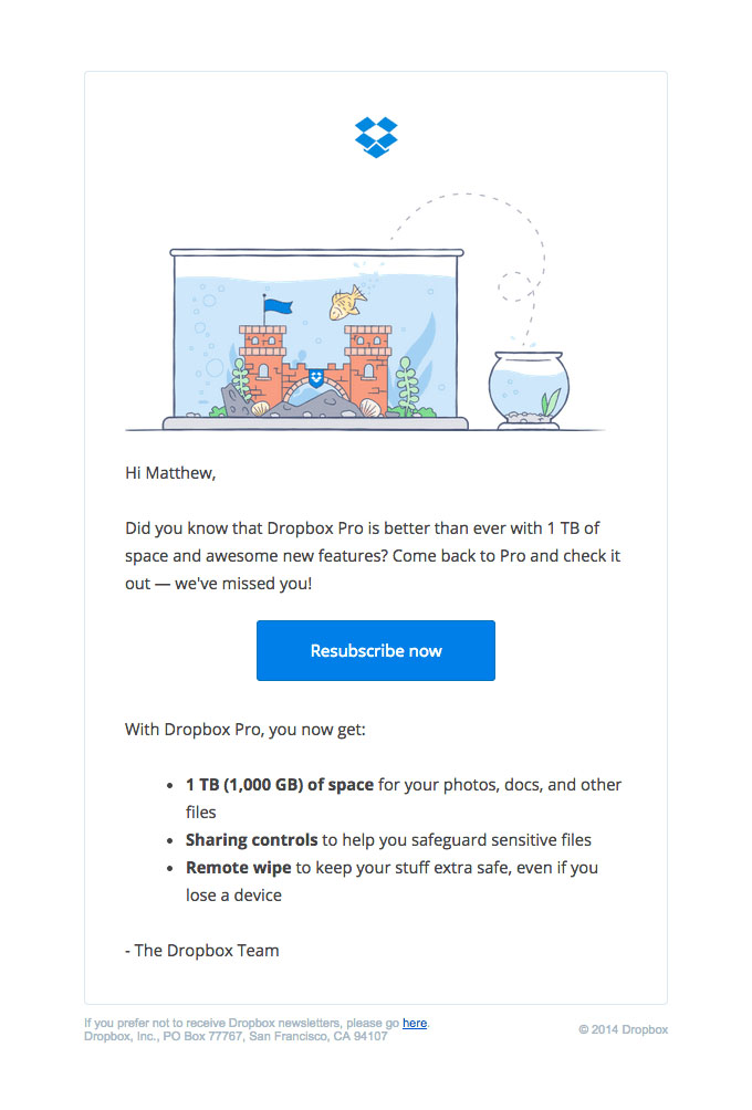 Behavioral Emails - Customer Retention Email - Dropbox