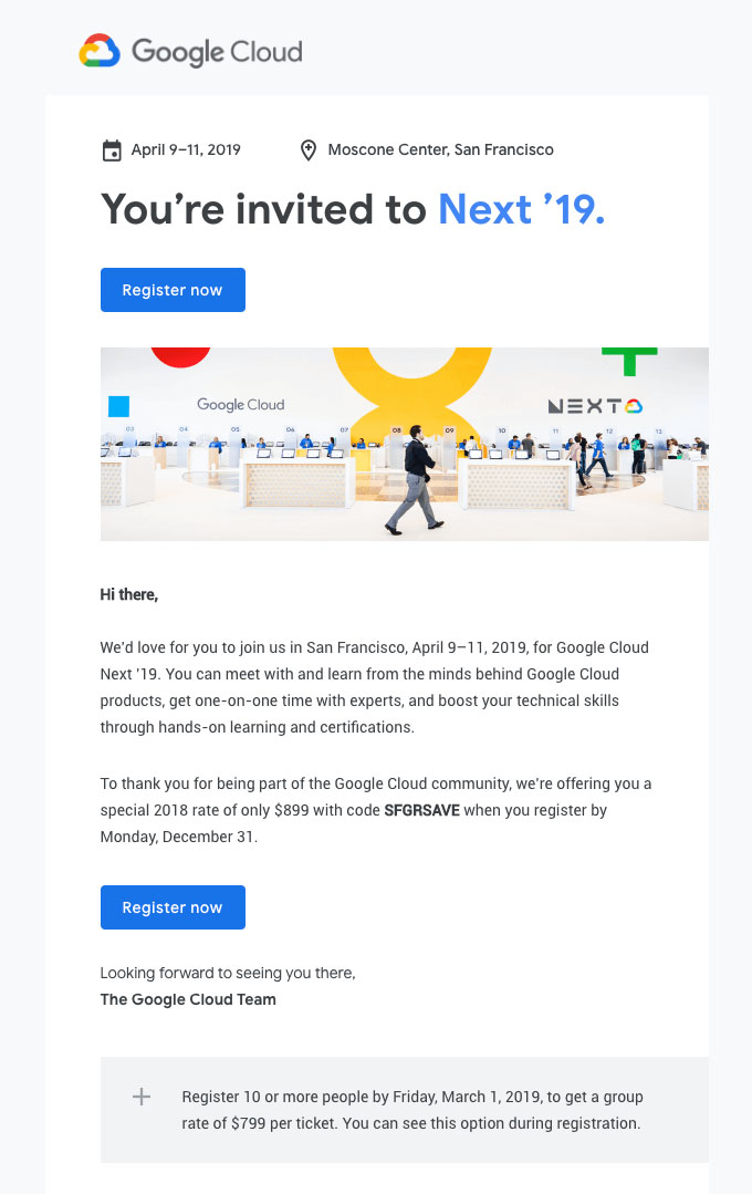 Promotional Emails - Invitation Email - Google