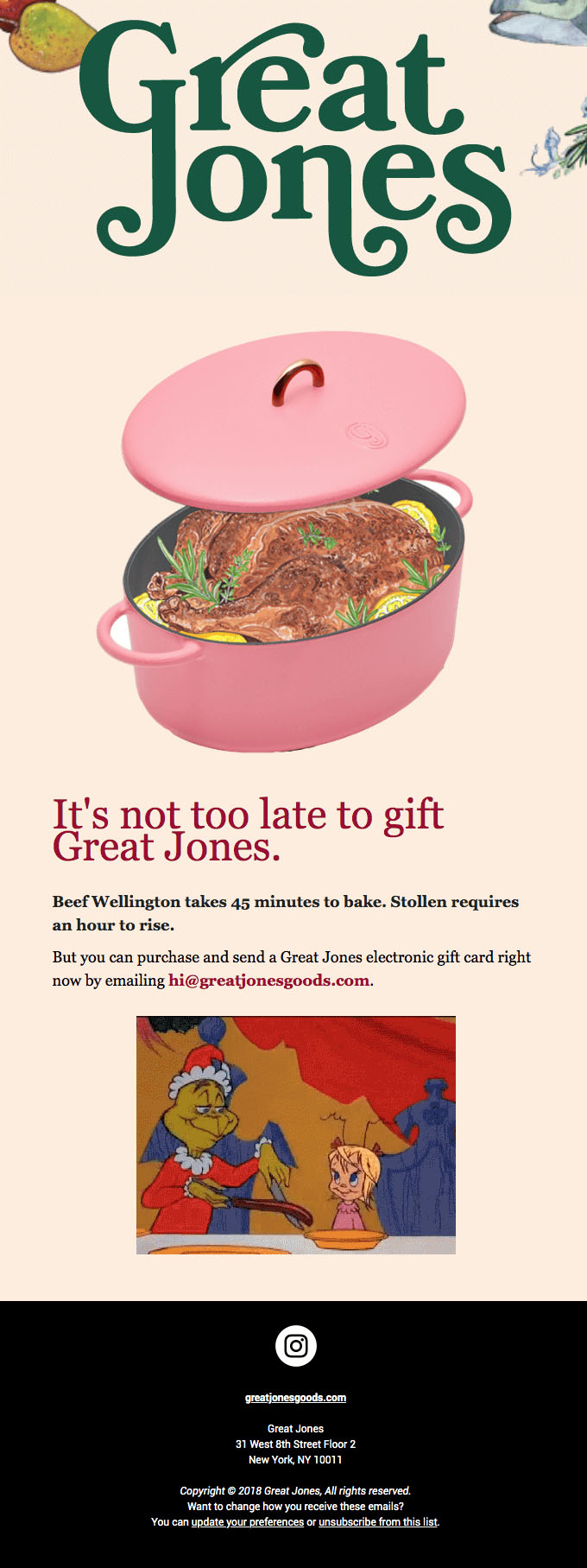 Promotional Emails - Holiday Offer Email - Great Jones