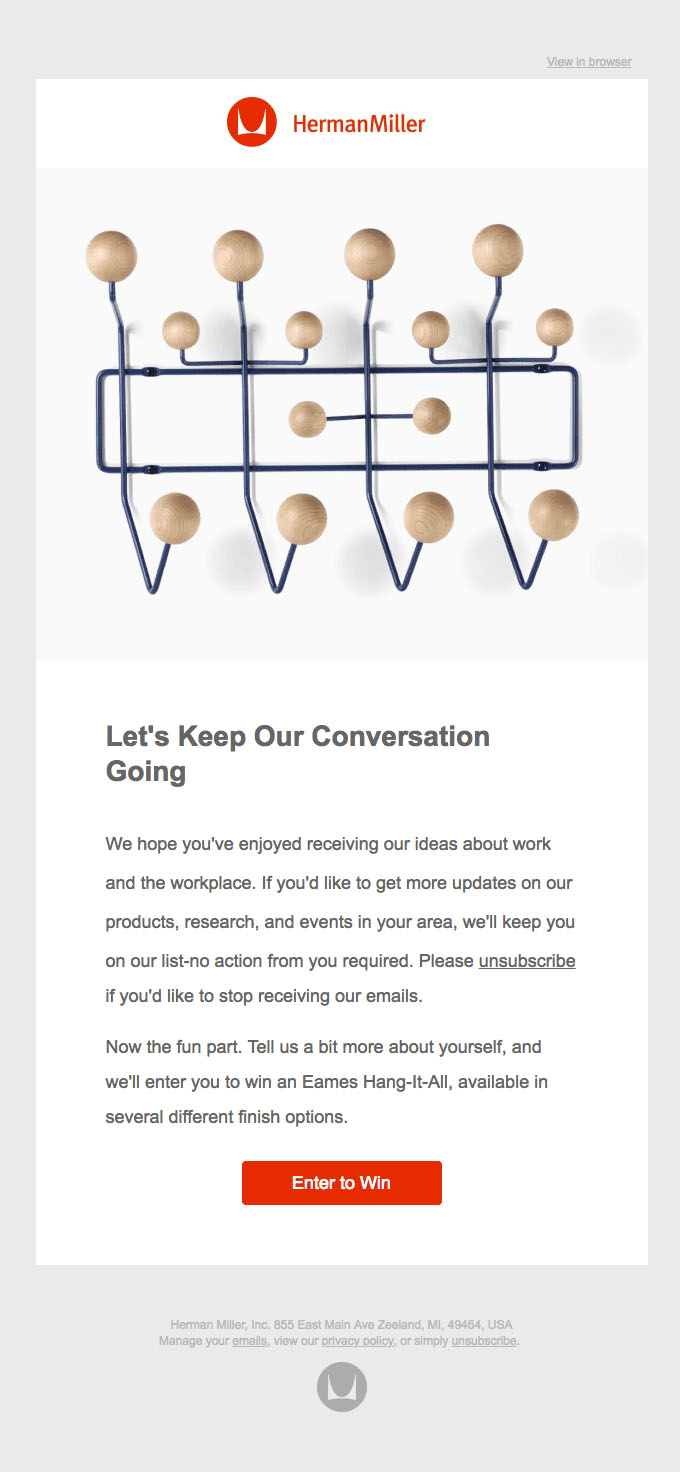 Behavioral Emails - Survey Email - Herman Miller