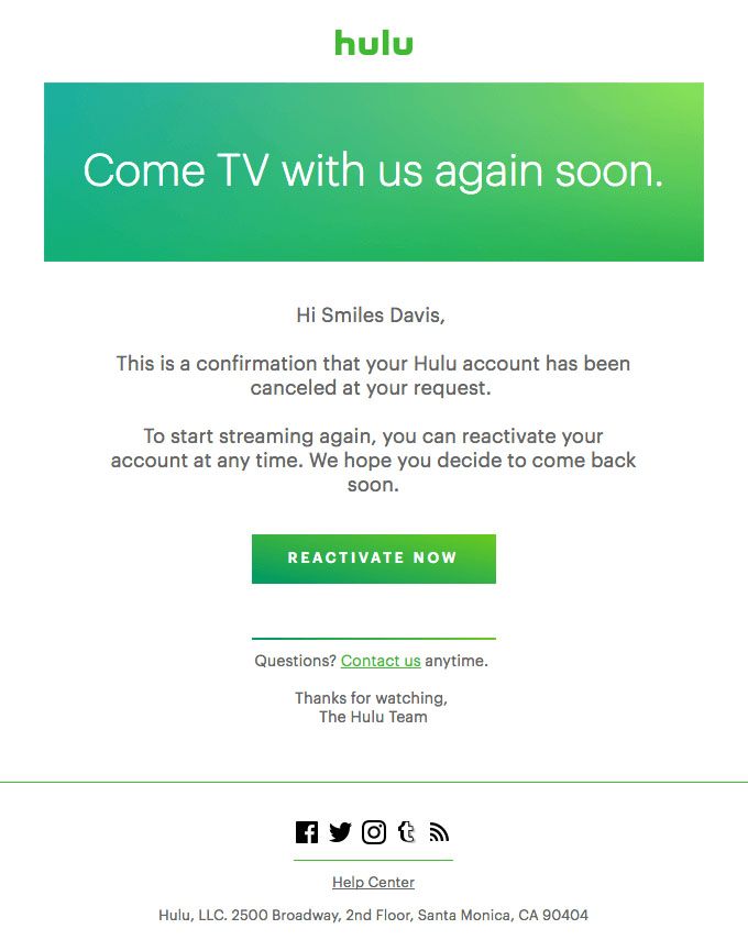 Transactional Emails - Unsubscribe Email -  Hulu