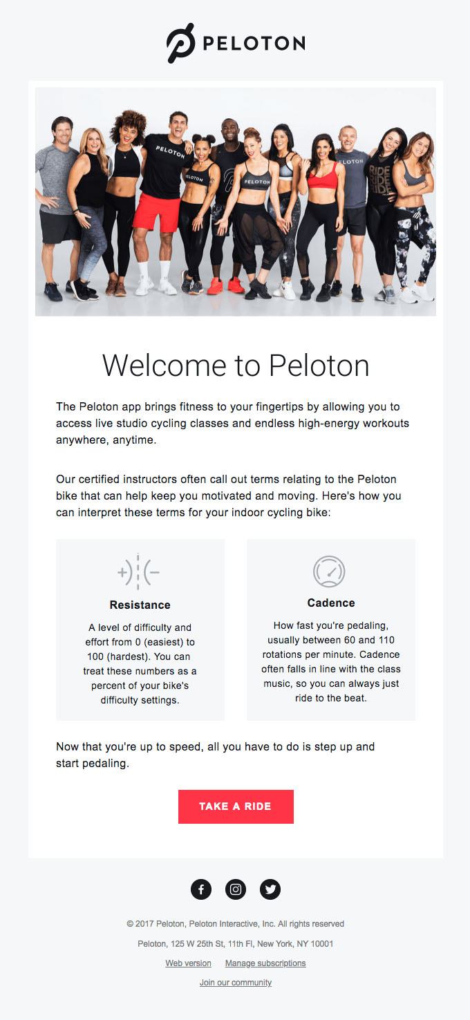 Onboarding Emails - Welcome Email - Peloton