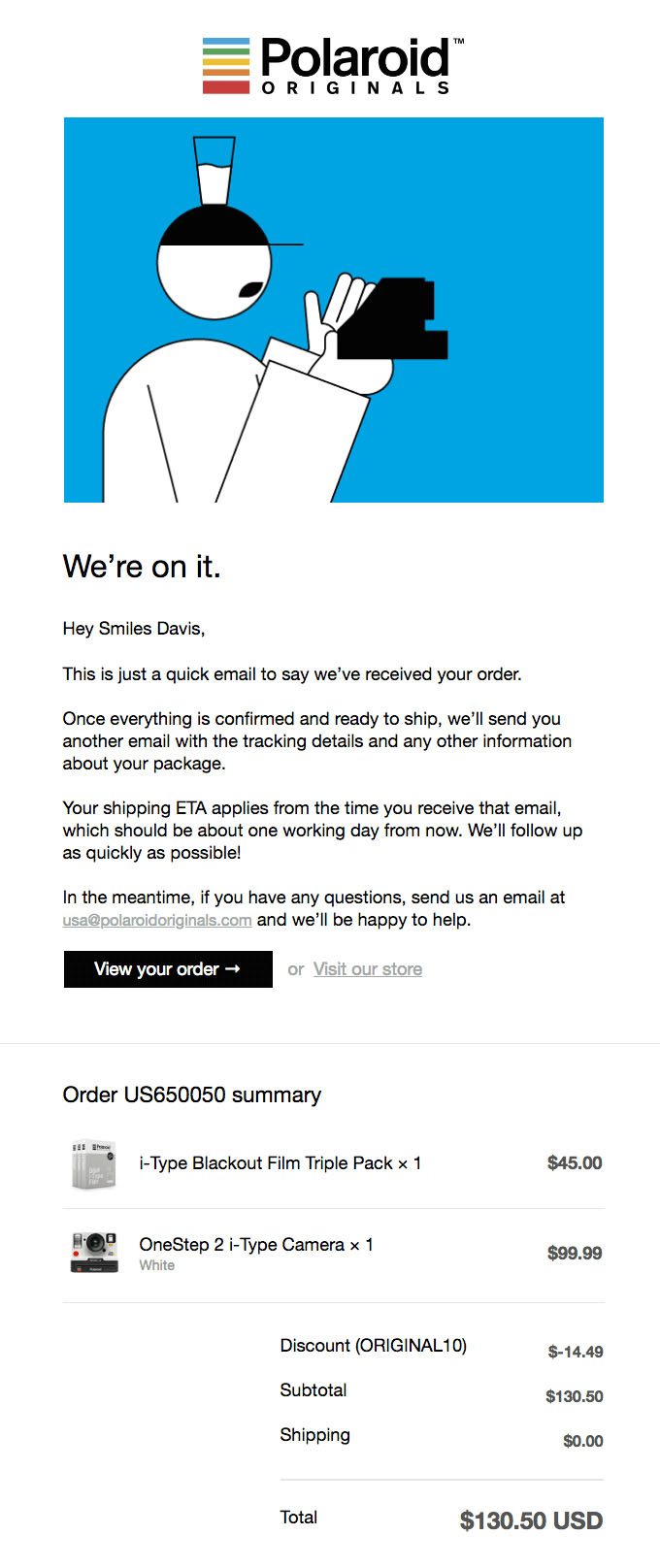 Transactional Emails - Receipt Email - Polaroid