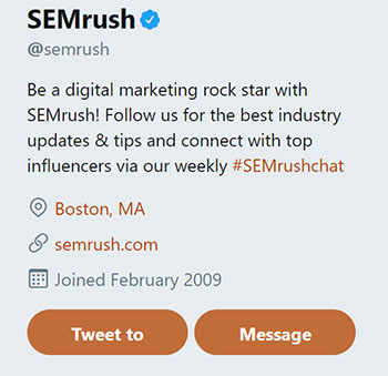 SEMrsuh Twitter Bio Chainlink Relationship Marketing