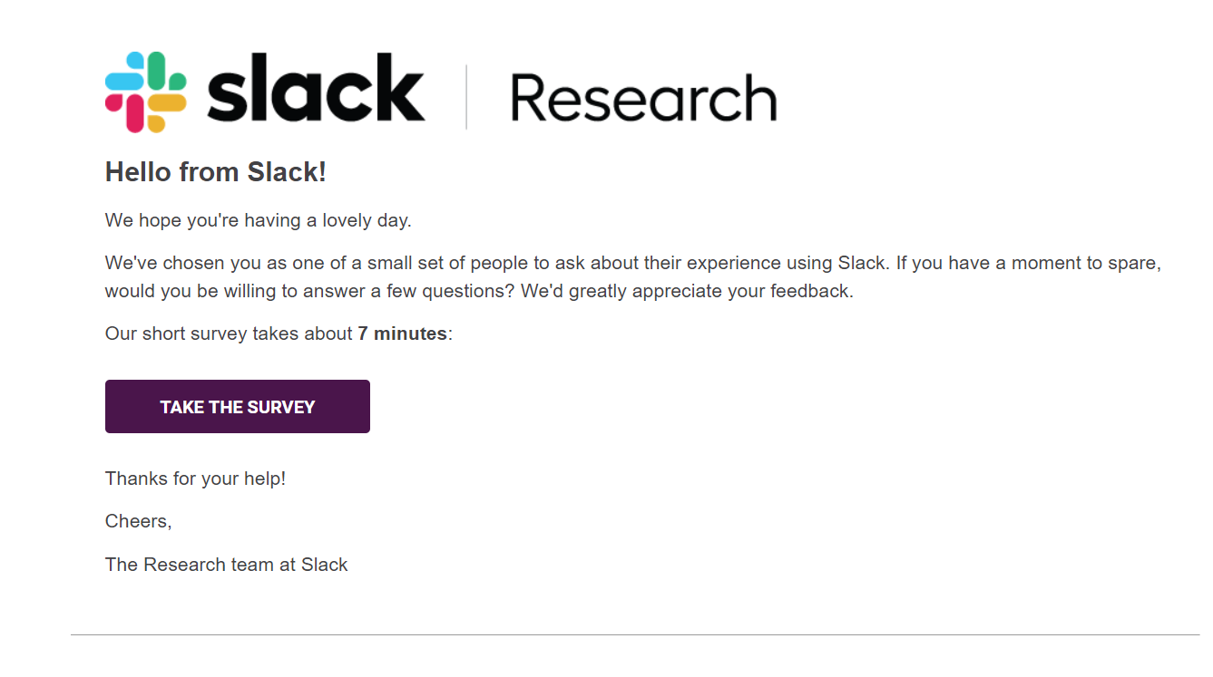 Behavioral Emails - Review Request Email - Slack
