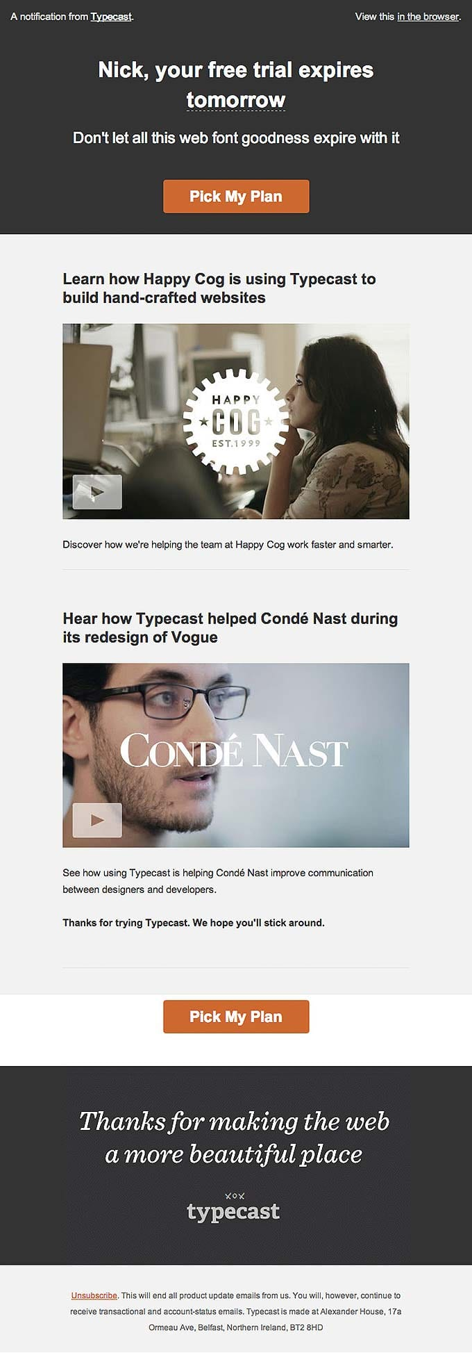 Onboarding Emails - Free Trial Ending Email - Typecast