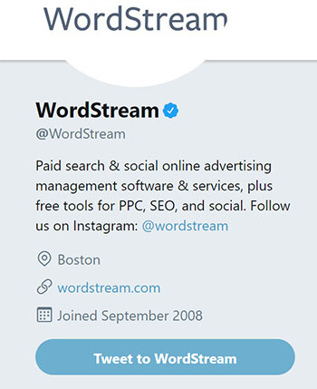 WordStream Twitter Profile Example Chainlink Relationship Marketing