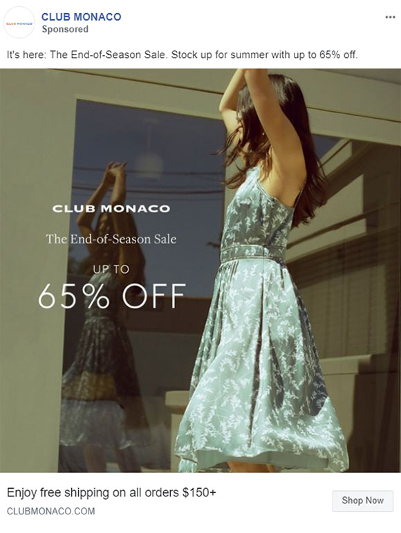 Facebook Ads - Apparel Ad Example - Club Monaco