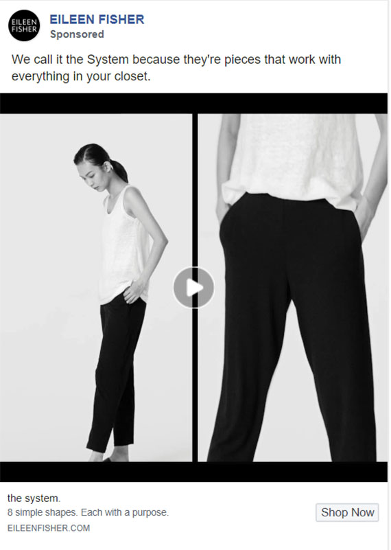 Facebook Ads - Apparel Ad Example - Eileen Fisher