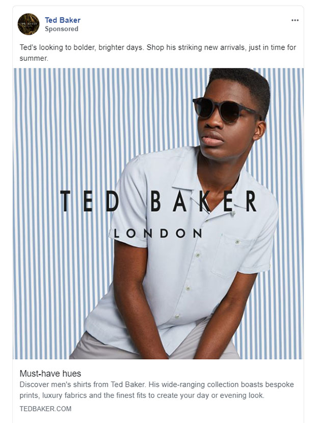 Facebook Ads - Apparel Ad Example - Ted Baker