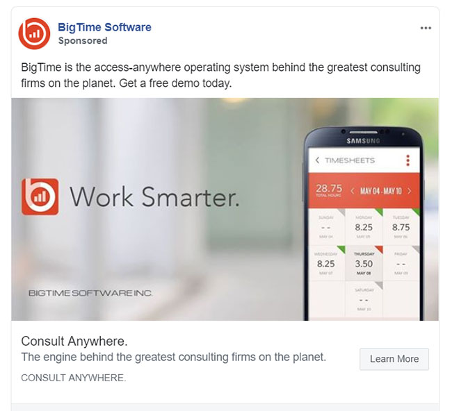 Facebook Ads - Business Communication App Ad Example - BigTime