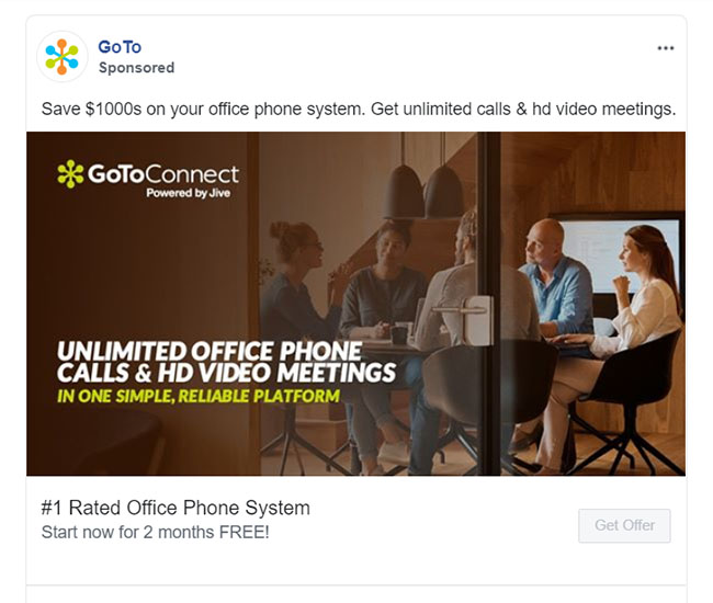 Facebook Ads - Business Communication App Ad Example - GoTo Meeting