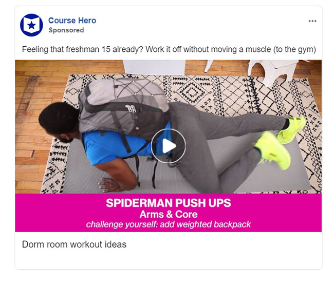 Facebook Ads - Education Ad Example - Course Hero